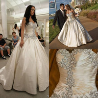 Wholesale Satin Sweetheart Wedding Gown - Elegant Crystal Wedding Dress 2015 Sweetheart Strapless Bridal Gown With Lace Up Ruffles Ivory White Wedding Dresses Vestidos