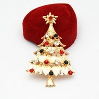 Gold Tone Stunning Colorido Diamante Christmas Tree Brooch Hot Selling Cheap Elegante Gift Broderes de Natal Frete Grátis