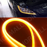 tubo flexible led drl al por mayor-Lámpara del coche 60CM LED Flexible DRL Soft Strips LED Luces de circulación diurna LED Tube light Blanco amarillo Switchback DRL light