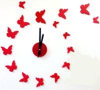 envío gratis reloj acrílico al por mayor-Envío gratis 3D gran tamaño reloj de pared mariposa acrílico pegatina DIY breve sala de estar decoración reunión sala de reloj de pared