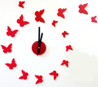 wanduhr große größe groihandel-Kostenloser Versand 3D großer Größe Wanduhr Schmetterling Acryl-Aufkleber DIY kurze Wohnzimmer Dekor meetting Raum Wanduhr