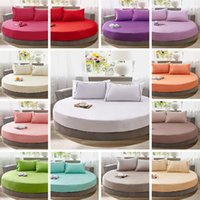 Wholesale Round Mattresses - High Quality 100% Pure Cotton Soft Bed Sheet Solid Color Round Luxury Europe Style Bedding Cover Mattress Wholesale