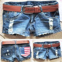 Wholesale Girls Denim Capris - Hot sale 2014 summer new arrival women's fashion denim shorts America flag short jeans female girls #7 SV003071