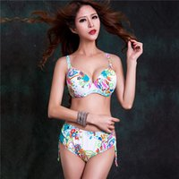 Wholesale Print Bikinis - 2014 New Arrival Women Hot Sexy Big Bust Print Swimwear Triangle Large Bikini Push Up Bathing Suit Good Quality Swimsuit 3XL 4XL 5XL 6XL 7XL