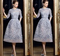 Wholesale Black Tea For Sale - Hot Sale 2016 Half Sleeve Short Party Dresses 3D Floral Appliques Party Dresses for Women Organza Ellie Saab Formal Dresses Custom EN12147