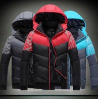 Wholesale Mens Padded Jackets - Hot Selling NK Winter Mens Jackets Coats Outerwear Cotton Padded Jacket Lover's Sport coat Hooded Padded Size M-XXXL 3 Colors Winter.