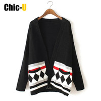 Wholesale V Com - Wholesale- Women Cardigan Long Sleeve Geometric Flower Long Style V Neck Pocket Autumn Winter Fashion Sweater Feminino Plus Size Com Renda