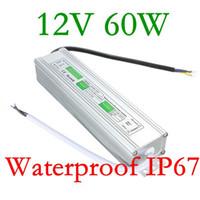 высококачественный блок питания 12 в оптовых-Edison2011 малого размера 60 Вт высокое качество светодиодный источник питания водонепроницаемый IP67 постоянного тока 12В AC 90В-250В LED трансформатор для светодиодной ленты