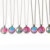 Wholesale Stainless Steel Body Jewlery - DHL Anime Poppy Trolls Pendant Necklaces Cartoon DreamWorks Glass Jewlery Body Chain Movie Cartoon Jewelry for Best Xmas Gift