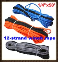 Wholesale Utv Winches - Wholesale-1 4''x50' 6mm*15m 12 strand UHMWPE synthetic winch rope with 1.5m sleeve and thimble for ATV UTV SUV 4X4 4WD