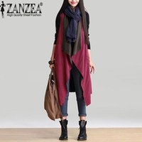 Wholesale Reversible Trench Coat - Wholesale-Outerwear 2016 Autumn Women Casual Waterfall Irregular Sleeveless Long Trench Coat Solid Loose Outwear Cardigan Reversible Wear