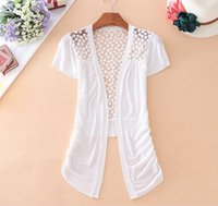 Wholesale Cardigans Fast Shipping - New Fashion Women Short sleeve Lace Sweet Candy Color Leisure Crochet Knit Casual Blouse Cardigan Sweater Fast shipping SW836