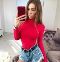 Wholesale Translucent Tights - Wholesale Red Translucent Shaped Bodysuits Stand Collar Long Sleeve Hollow Out Button Shorts Jumpsuits Women Tight Guest Rompers