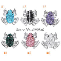 "Wholesale Frog Shapes - Snap Jewelry 5PCS ""Frog"" Shaped Ginger snap button Fit Snap Button Bracelet and Button Pendant Rhinestone Delicate LSSN017*5"