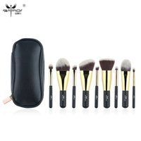 Wholesale Gm Set - Anmor 9 Piece Synthetic Makeup Brushes with Black Color Bag Traveling Portable Makeup Brush Set Professional Make Up Brushes Gm -B09