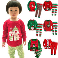 Wholesale Kids Stripe Tops - kids christmas sleepwear children clothing boys suits girls cotton deer stripe tops pants pajamas santas little helper sleepwear sets