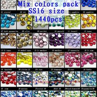 Wholesale Glass Rhinestone Nail - Glass rhinestones 1440pcs ss16 3.8-4.0mm assorted color loose rhinestones for nail art diy scrapbooking decoration