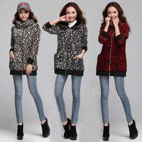 Wholesale Leopard Hoodie Big Size - Wholesale-Trench Coat Women 2015 Winter Leopard Print Coat Big Plus Size Woman Casual Cardigans Lady Hoodies Overcoat Red,Yellow XL~XXXL