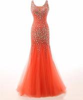 soiree robe denizkızı gece elbisesi toptan satış-2019 Yeni Vestido De Dresses Robe De Soiree Muhteşem Kristaller Scoop Tül Uzun Mermaid Abiye Robe Longue Femme Soiree 219