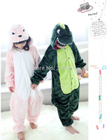 Lovely Flanell Winter Tier Anime Cartoon Grün Rosa Dinosaurier Kinder Kinder Cosplay Halloween Kostüm Pyjamas Pyjamas Nachtwäsche
