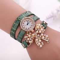 Wholesale Faux Pearl Belt - 2015 Popular Style Women Rhinestone Bowknot Imitated Pearl rhinestone luxury Bracelet Quartz Faux Leather Wrist Watch