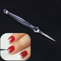 All'ingrosso-Clear Manico in acrilico Nail Art Brush Pittura Liner Disegno Strumento di disegno Nail art Gel UV Pen Brush Polish Manicure Tools Pennelli