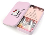 Wholesale Wholesale Professional Beauty Cases - New Professionals 7Pcs Set Hello kitty Cosmetic Brush Kit Makeup Brushes Pink iron Case Toiletry beauty appliances makeup brush DHL FRE