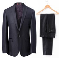 Wholesale Morning Dress Men - Shiny Black Tuxedos for Grooms 2Pieces Mens Wedding Suits Peaked Lapel one Button Best Man Morning Dress(Jacket+Pants)Real Photo Custom