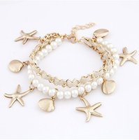 Wholesale Bracelet Seashells - B216 NEW Fashion Starfish Shell with Pearls Leather Korean style Diversification All-Match Seashell Multilayer Bracelets #1707