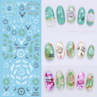 Wholesale Colorful Art - DIY Water Transfer Nails Art Sticker Colorful Purple Fantacy Flowers Nail Stickers Wraps Foil Sticker manicure