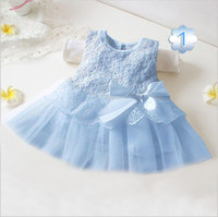 Wholesale Baby girl bow dress princess dress children lace patchwork sleeveless dresses flower girl party dress kids fashion clothing BY0000
