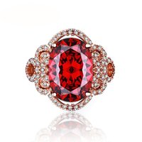 Fashion Pomegranate Red Hearts And Arrows Egg Shape Ring For Women Shinning Zircon Unique Ring Jewelry Gift 10 peças / lote drop free shipping