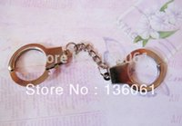 Wholesale Police Key Chain - Wholesale Fashion Vintage Silver Police Handcuffs THUMB CUFFS Charms Key Chain Key Ring Bag Jewelry DIY Free Shipping 20PCS P978