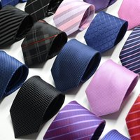 Wholesale Men Striped Neckties - 2018 New Fashion Silk Necktie Dot Striped Mens Dress Tie Wedding Business Dress Tie For Men Neckwear Handmade Wedding Tie Accessories