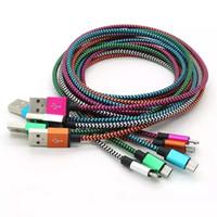 cargadores de android de color al por mayor-Tipo C USB 3.1 para S8 Tejido de nylon trenzado Cable micro USB Cable de cargador de metal sin romper Conector para Samsung S7 6 5, HTC, teléfono Android