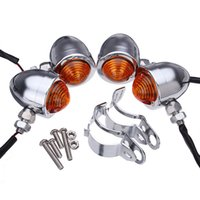Wholesale custom motorcycle chrome resale online - 4x Custom Chrome Bullet Motorcycle Turn Signal Amber Light Relocation Fork