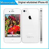 Wholesale Iphone 4s Factory Unlock - Factory iPhone 4s Unlocked Original Apple iPhone4S mobile phone 3G wifi GPS 16GB 32GB ROM iOS 8 Dual Core Refurbished cell phones 002834