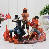 Wholesale One Piece Anime Set - 3pcs set Anime One Piece DXF Luffy Ace Sabo PVC Action Figures Toy Collectible Model Doll Toys Box Packaged