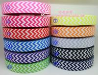 """Wholesale Grosgrain Ribbon 22mm - 11Colors x 5yd 7 8"""" (22mm) chevron print grosgrain ribbon party decoration DIY accessories"""