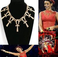 Wholesale Choker Celebrity - Fashion Boho Celebrity Rihanna Gold Short Statement Metal Textured Theme Ankh Cross Pendant Necklace Choker Jewelry [JN06480*2]