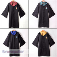 Wholesale harry potter robes for sale - Adult Harry Potter Costume Colors Hogwarts Gryffindor Slytherin Hufflepuff Ravenclaw Robe Hooded Cloak Cape Halloween Clothing