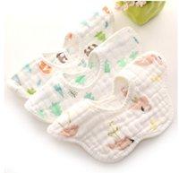 Wholesale Shaped Bibs - Baby bandana newborn 360 degree petals shape bibs newborn cotton gauze saliva towel infant cute bear flamingos printed burp cloths R1644