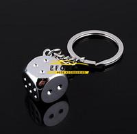 Wholesale Key Fob Housing - Car Stylish Chrome Silver Dice Key Chain Ring Fob - for house home  car truck  bike keys Brand New Free Shipping