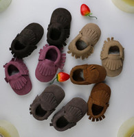 Wholesale Top Wholesalers Shoes - top 2015 new baby suede Genuine Cow leather moccasins first walker Anti-slip shoes soft fringe moccs 5 color boys girls moccasins 28pairs