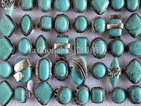 Wholesale Gemstone Tibetan Jewelry - Large tibetan tribe Silver Tone Turquoise Gemstone Rings Mixed Sizes New Jewelry 25pcs lot free shipping R105
