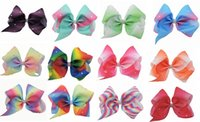 Wholesale Rainbow Dance - 10 Pcs Lot 7 Inch Jojo Gradient Rainbow Rhinestone Hair Bow With Clip Girls Dance Cheerleading Hairpin Barrettes Beautiful HuiLin AW47