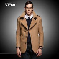 Wholesale Long Coat Design Men - British Style Men Woolen Coat Unique Button Design Casual Long Sleeve Coat Fashion Turn-down Collar Coat Z1507-Euro