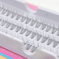 черная 12мм длинная накладная ресница оптовых-Wholesale-2016 1set =60pcs Individual Lashes Semi-Hand Made Black Natural Long Cluster  Extension False Eyelash Set 8/10/12mm