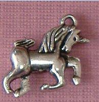 klasik gümüş at kolye toptan satış-Moda Takı Vintage Antiqued Gümüş Güzel Unicorn at Charms Kolye DIY Bulguları Bijoux Ücretsiz Nakliye Için 200 ADET A090