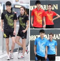 Wholesale li ning badminton blue yellow resale online - Hot Sell Li Ning Badminton Table Tennis Clothes Short Sleeve T shirt Olympic Clothing Men Or Women s Shirt